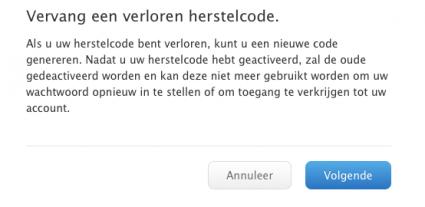 Herstelcode Apple ID