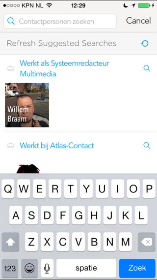 Humin Nederlands zoeken iPhone contacten