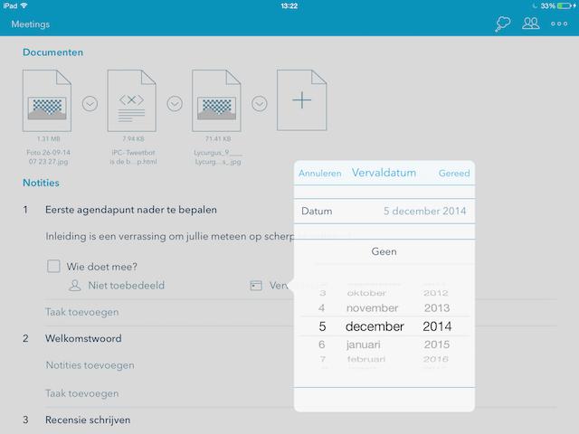Minute vergaderen met iPad datum prikken