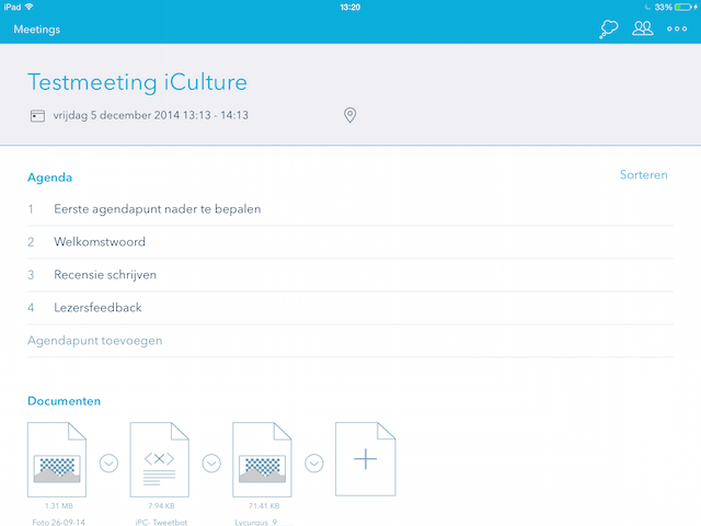 Minute vergaderen met iPad notities en documenten