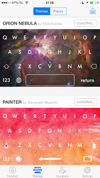 Themeboard review thema borden iOS