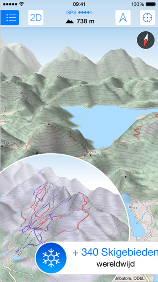 Maps 3D Pro iPhone skigebieden