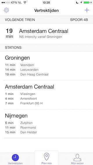 RailPlanner iPhone vertrektijden en vast traject