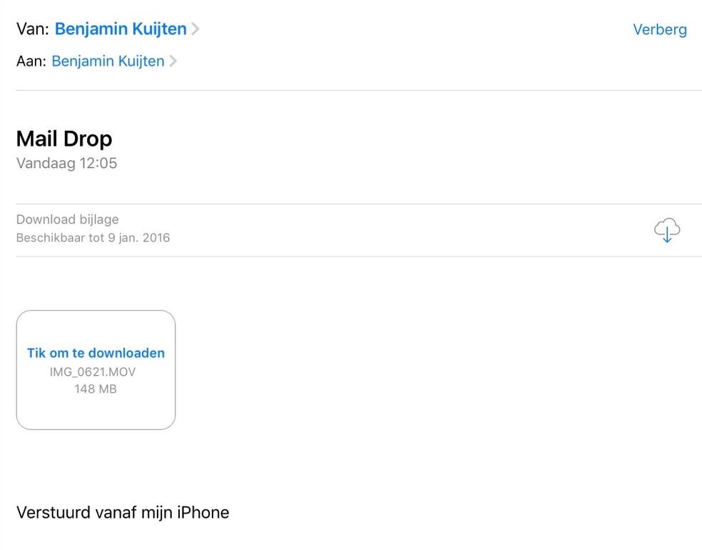 Mail Drop-bijlage ontvangen op de iPad.