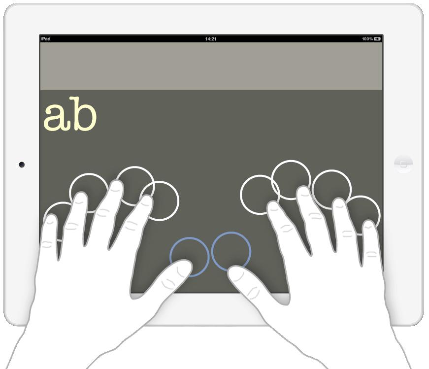 ibrailler toetsenbord illustratie met vingers