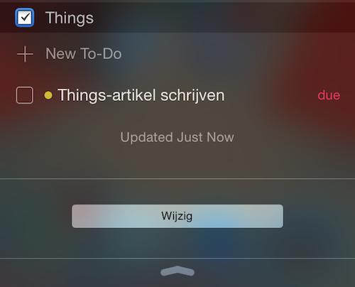 Things Berichtencentrum widget