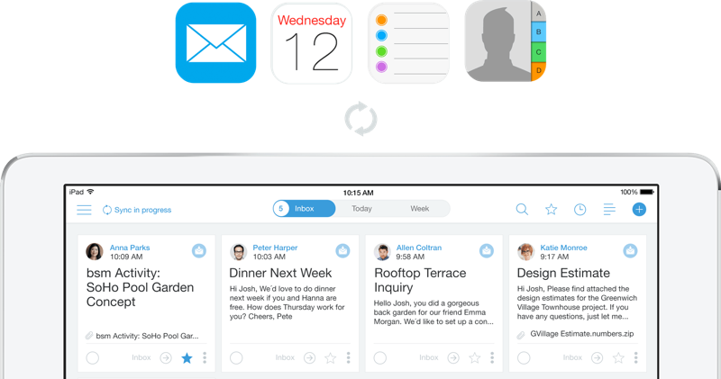 blueskyme synct met de rest van de iPad
