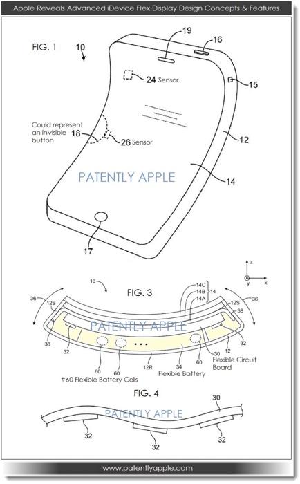 Schets van het patent op buigbare iPhones