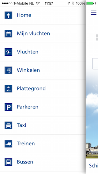 Schiphol iOS app nieuw 4.0