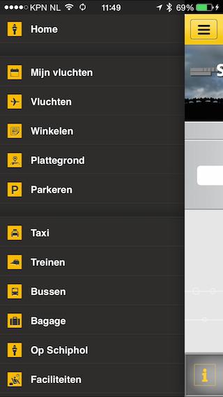 Schiphol iOS app oud