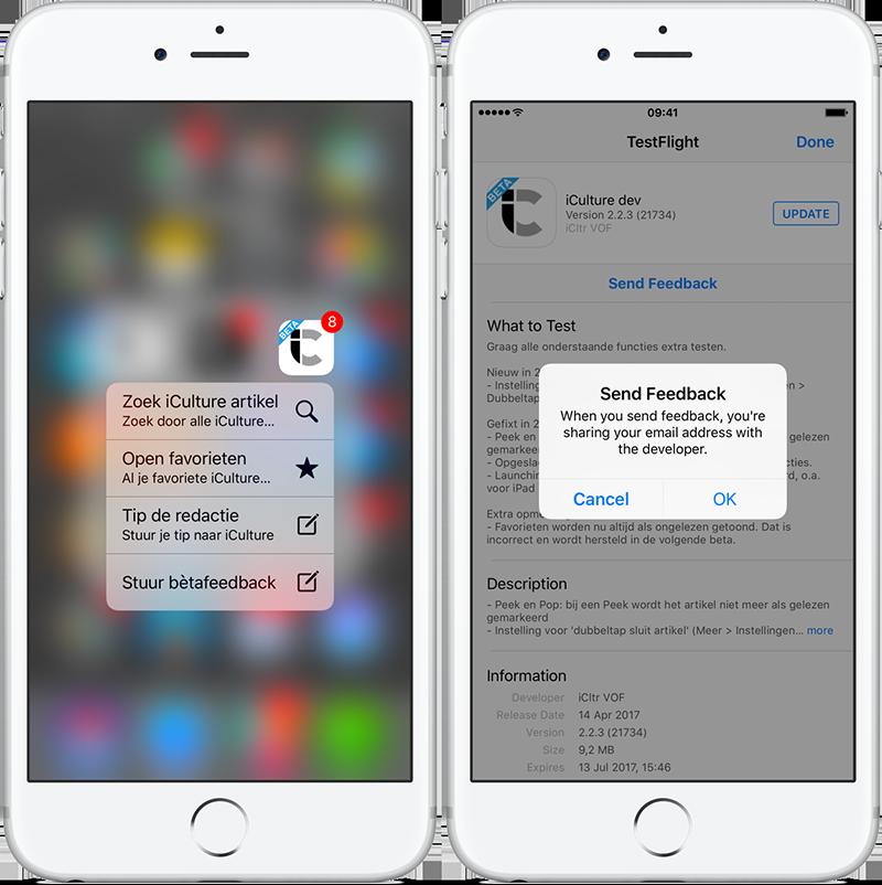 Beta-app feedback sturen