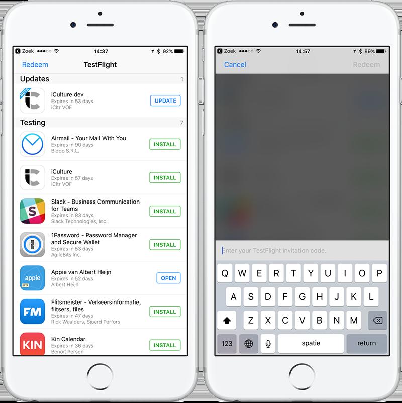 TestFlight-app op de iPhone