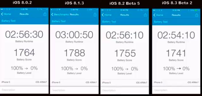iOS 8 batterij vergelijking