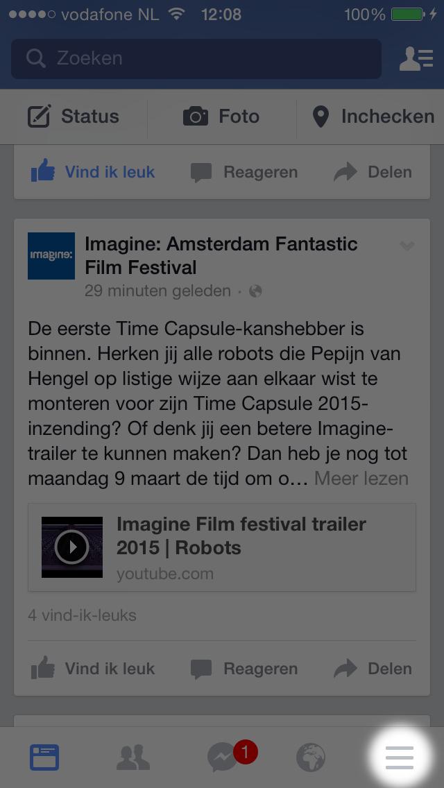 facebook notificatie-geluiden stap 1