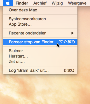 Finder herstarten 2
