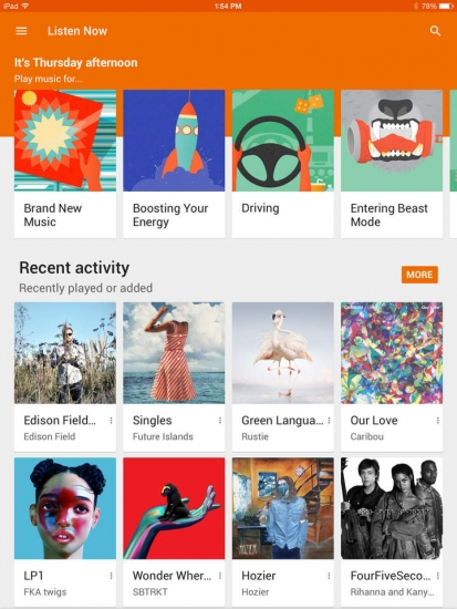 Google Play Music iPad