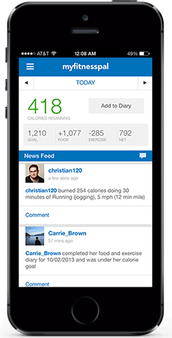 MyFitnessPal screen