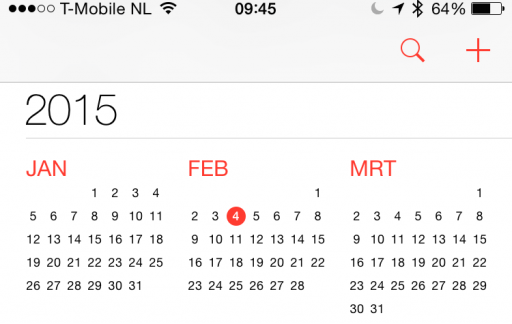 iOS 8 calendar screenshot