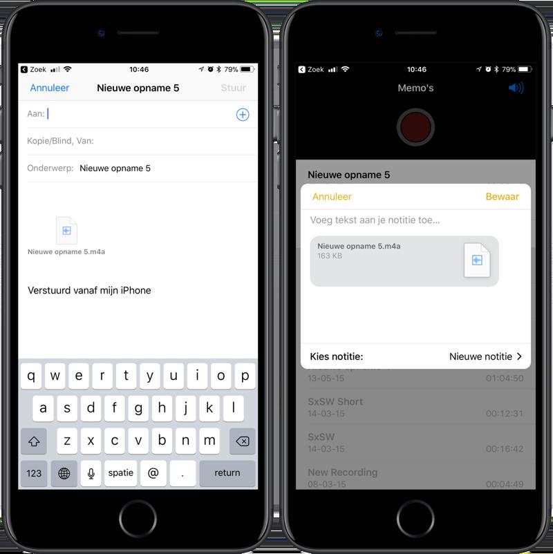 Voicememo's delen en exporteren vanuit Dictafoon-app