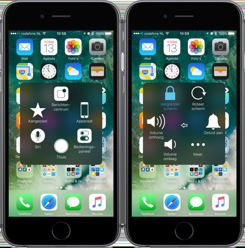 iPhone herstarten via AssistiveTouch.