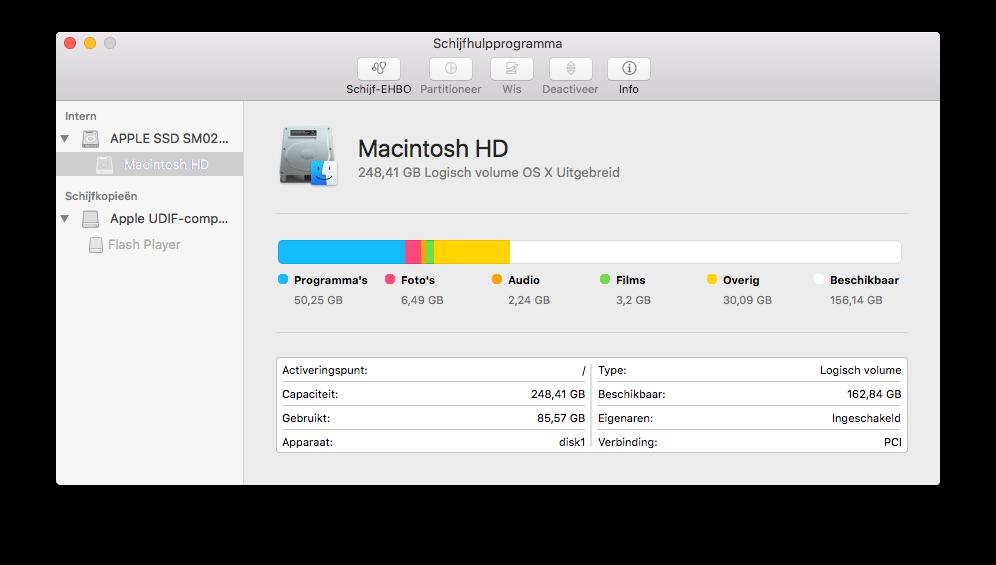 Schijfhulpprogramma op een Mac met El Capitan.