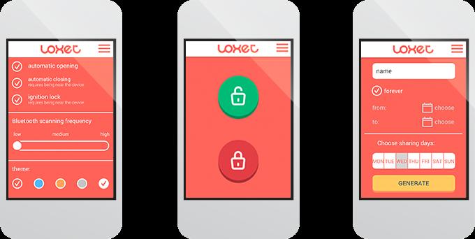 Loxet app screens