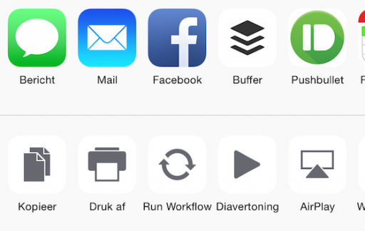 iOS 8.3 Twitter deelknop