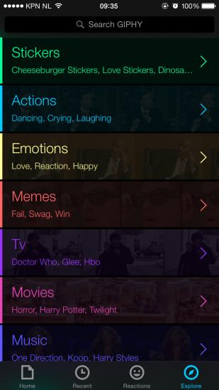 Giphy explore screenshot