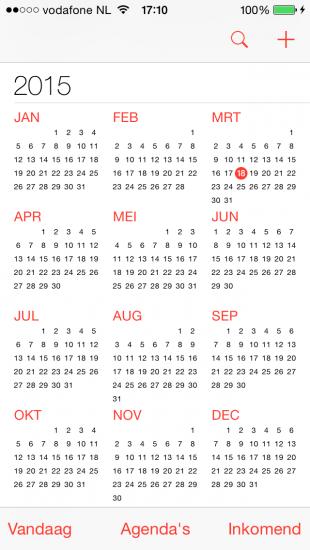 agenda jaarweergave