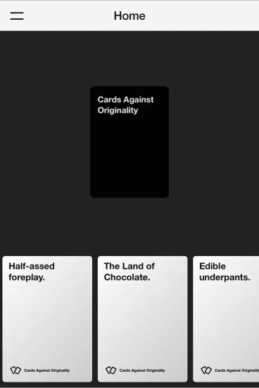 Cards Against Originality screen