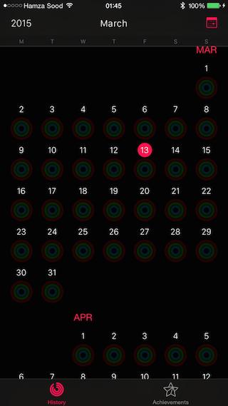 Activity App maand overzicht