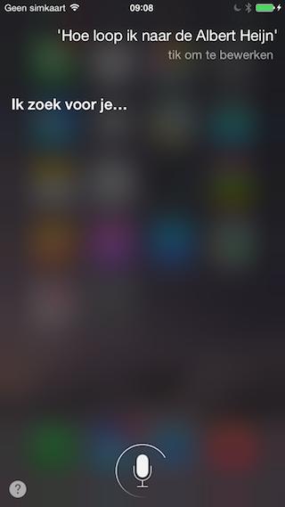 Siri Kaarten routebeschrijving