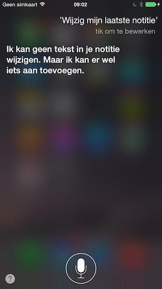 Siri notitie wijzigen