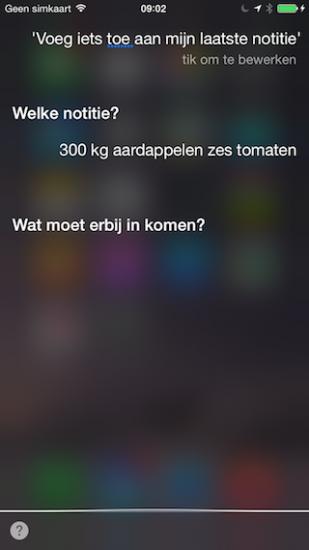 Siri notitie toevoegen