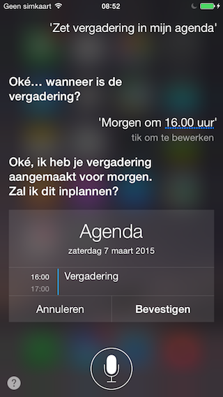 Siri Agenda inplannen