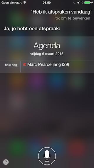 Siri agenda afspraken vandaag