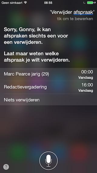 Siri Agenda afspraak verwijderen