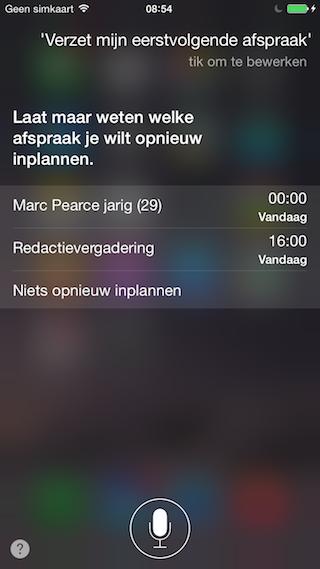 Siri Agenda afspraken verzetten