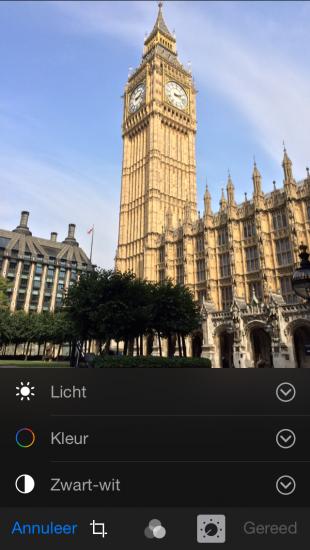 belichting aanpassen foto's app