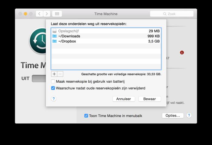 Time Machine onderdelen backup uitsluiten