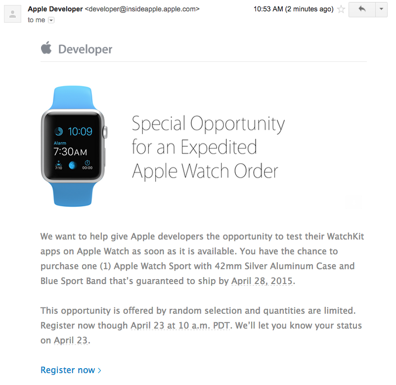 Apple Watch 28 april ontwikkelaars