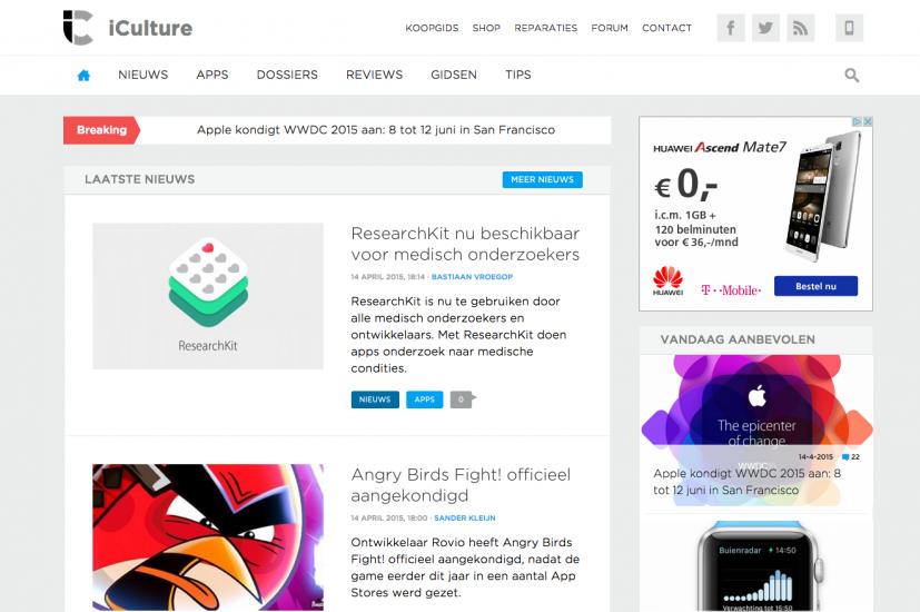 iCulture homepage: nieuwe situatie