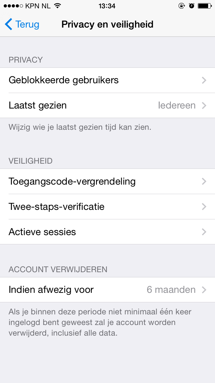 Telegram tweestapsverificatie screenshot