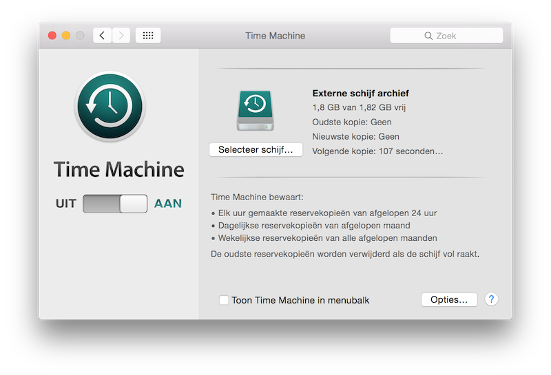Time Machine systeemvoorkeuren