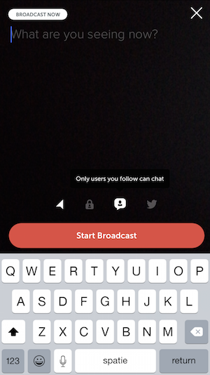 Periscope chat vrienden screenshot