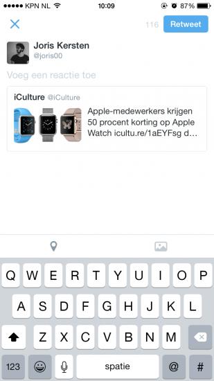 Screenshot nieuwe retweet functie Twitter