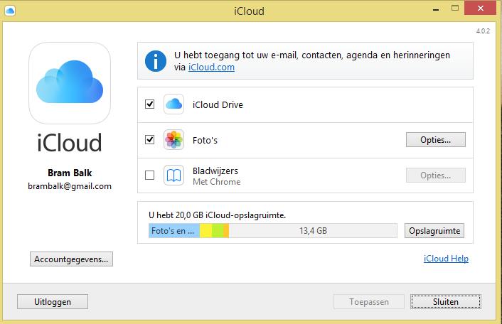 iCloud for Windows instellen