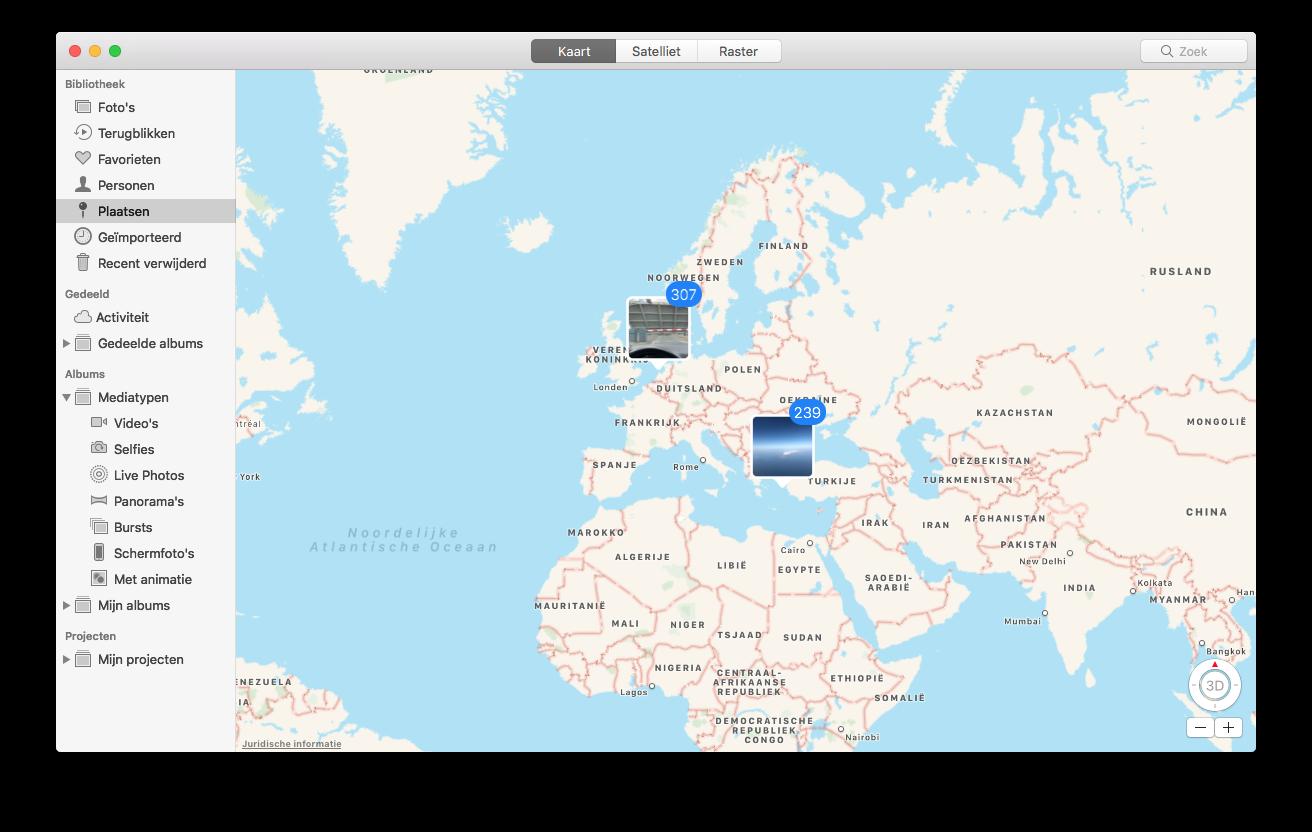 Foto's bekijken op een kaart op de Mac.