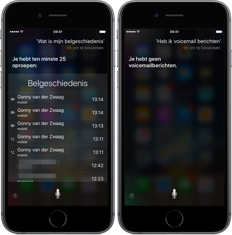 Belgeschiedenis en voicemail opvragen met Siri.