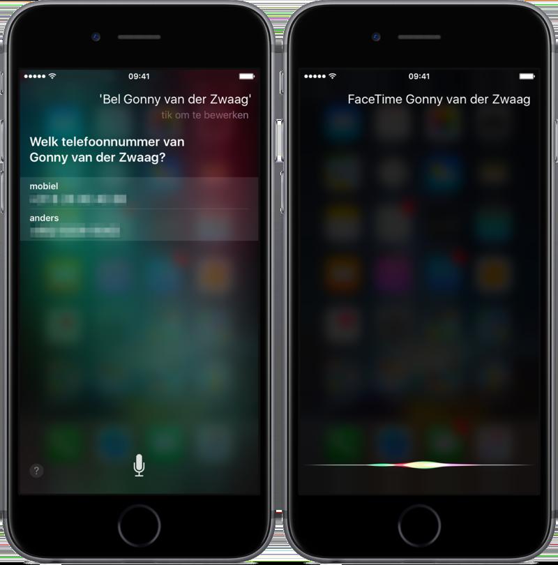 Siri bellen en FaceTimen.